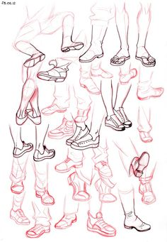 Chart showing how to draw different types of sneakers and sandals for your characters.