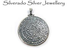 Greek Pendant, Sterling Silver 925 Minoan Phaistos Disc Pendant 39mm Jewelry