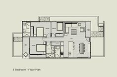Marmol Radziner Locomo 2 Bedroom prefab home plans. Exterior Design, Interior And Exterior, 3 Bedroom Floor Plan, Home Structure, Timber House, Prefab Homes, Sustainable Living, Tiny House, House Plans