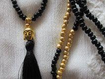 Kette Buddha Buddhakette Quaste schwarz gold