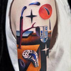 Cubism arm tattoo Traditional Japanese Tattoos, American Traditional, Negative Space Tattoo, Dali Tattoo, Biomechanical Tattoo, Modern Tattoos, Most Popular Tattoos, Color Tattoo, Art Forms