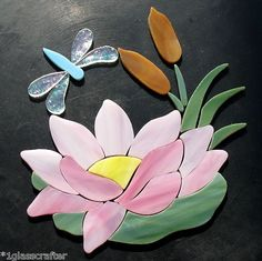 Lotus / waterlily with dragonfly and cattails stained glass mosaic inlay kit. New design. Selling on ebay or contact me directly rachellkratzer@aol.com