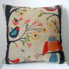 """Decorbox Retro Cotton Linen Square Throw Pillow Case Decorative Cushion Cover Pillowcase Cute Birds on Tree 18 """": Our decorative pillows have specific designed patterns. If you have a searching different mind, decorbox will definitely make an impression. Decorative Pillow Cases, Throw Pillow Cases, Decorative Throw Pillows, Pillow Covers, Pillow Inserts, Pillow Shams, Sofa Bed Home, Retro, Pillow Arrangement"""