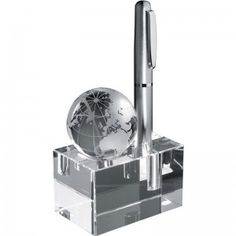 Desktop Glass Feature with Globe and Pen Holder