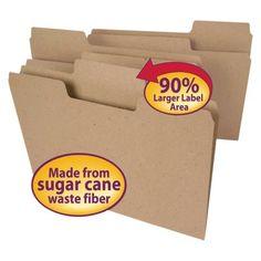 Tree Free Super Tab File Folders with 1/3 Cut, Letter - Brown (100 Per Box)