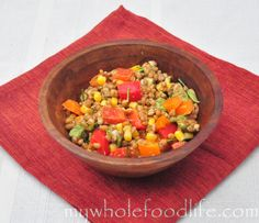 Wheat Berry Salad with Corn and Peppers.  An easy salad to throw together that will keep you satisfied for hours.  Vegan.