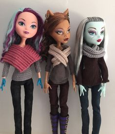 "Poncho and Infinity Scarf crochet pattern for Monster High / Ever After High 17""…"