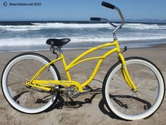 Yellow Beach Cruiser for Women available at Beachbikes.  Great classic frame, with an extra wide saddle and balloon tires. Rides very smooth and pedals easy.  $169.99, www.beachbikes.net/products/Firmstrong-Urban-Lady-Single-Speed-Yellow-Womens-26-Beach-Cruiser-Bike-868.html
