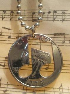 Music Note Quarter Necklace.  Click on the pick to buy!