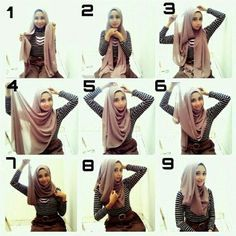 Modern Hijab tutorials are also available online in a form of videos. The videos acknowledge you about different styles of Hijab worn on head. How To Wear Hijab, Hijab Wear, Turban Hijab, Hijab Outfit, Tutorial Hijab Modern, Hijab Style Tutorial, Hijabs, Pashmina Hijab Tutorial, Hairstyle Tutorial