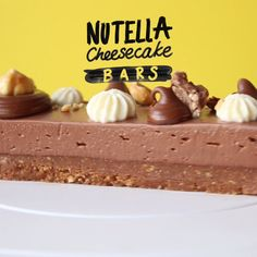 Bars Have we reached Nutella Heaven?Have we reached Nutella Heaven? Nutella Cheesecake, Cheesecake Bars, Cheesecake Recipes, Nutella Fudge, Easy Desserts, Delicious Desserts, Dessert Recipes, Yummy Food, Yummy Treats