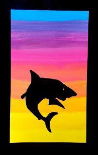 Silhouette in backlight School Art Projects, Art School, Art Connection, 3rd Grade Art, Arts Ed, Teaching Art, Art Lessons, Silhouettes, Watercolor Art