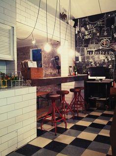 Bar top from an old boat cradle, Industrial lights, Tiled water bar. cafe design , shop fitting