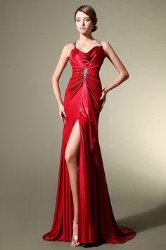 Slit Criss Cross Back Halter Red Satin Prom/Evening Dress with Cowl Neck JSLD0098