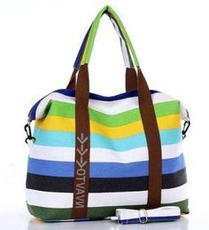 Large Designer Fashion Striped Canvas Summer Beach Tote 5 Colors