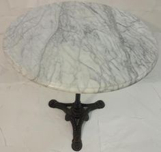 Vintage Marble Top Coffee Table W/Cast Iron Base