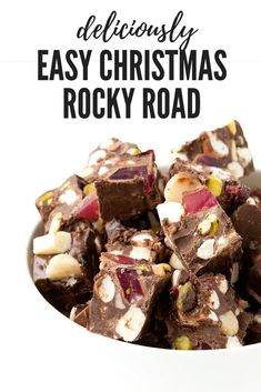Homemade Christmas Rocky Road filled with marshmallows macadamias pistachios Turkish delicious and chocolate This easy rocky road is perfect for Christmas Recipe from Christmas Nibbles, Christmas Food Gifts, Xmas Food, Christmas Cooking, Christmas Desserts, Simple Christmas, Homemade Christmas, Christmas Hamper, Christmas Entertaining