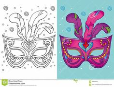 Coloring Book Of Christmas Purple Carnival Mask Vector Image , Christmas Present Vector, Christmas Tree With Gifts, Christmas Crafts, Kids Christmas, Colouring Pages, Coloring Books, Cartoon Trees, Mask Drawing, Gift Vector