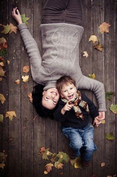 daughter upside down like boy on other side of mom