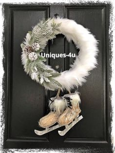 Your place to buy and sell all things handmade, Excited to share this item from my shop: Ice Skate Winter Wreath - Christmas wreath - Front door decor. All Things Christmas, Christmas Time, Christmas Crafts, Christmas Decorations, Christmas Ornaments, Christmas Morning, Christmas Photos, Owl Wreaths, Holiday Wreaths