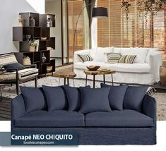 Avis canapé bleu indigo NEO CHIQUITO de AMPM Bleu Indigo, Home Decor, Blue Fabric, Deep Blue, Lounge Sofa, Midnight Blue, Dinner Room, Home Decoration, Decoration Home