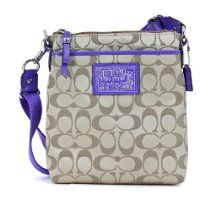 Coach Daisy Signature Sateen Swingpack Crossbody Khaki Violet