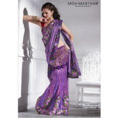Admirable shaded violet net and chiffon lehenga style saree.