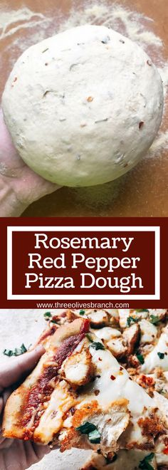 Rosemary Red Pepper Pizza Dough Homemade pizza dough with a little kick! Amp up plain dough with the flavors of rosemary and red pepper, classic Italian ingredients. Delicious with a variety of toppings. Makes two pizzas and perfect for a party pizza n Paprika Pizza, Comida Pizza, Peppers Pizza, Sauce Pizza, Vegetarian Recipes, Cooking Recipes, Vegetarian Pizza, Paleo Food, Deep Dish