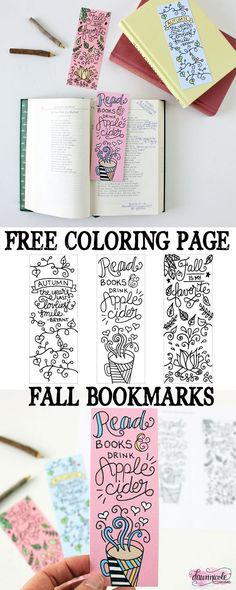Free Printable Fall Bookmarks By Dawn Nicole - Print it out and colour it in using your favourite supplies! - 15 Fabulous Free Printable Colouring Pages For Big Kids and Adults Fall Coloring Pages, Printable Coloring Pages, Free Coloring, Adult Coloring Pages, Coloring Sheets, Coloring Books, Colouring Pages For Adults, Tumblr Coloring Pages, Diy Bookmarks