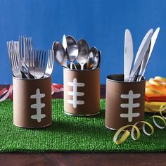 Brown construction paper and a little paint can turn any can into an easy-to-recycle utensil holder for your Game Day guests.