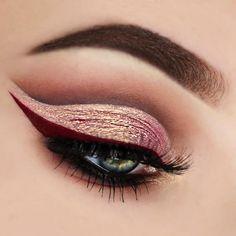 pink eye make up with dark red eyeliner