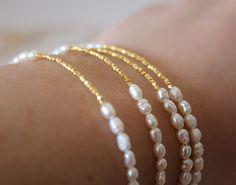 Perlas y oro joyería de la boda novia pulsera Dama de