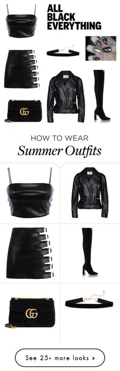 """Untitled #43"" by abecamille on Polyvore featuring Acne Studios, Gucci and allblackoutfit"