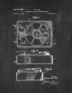 A very cool totally free last minute gift idea for fathers day record player patent print chalkboard 5 x 7 malvernweather Image collections