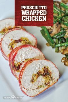 Try this recipe for prosciutto wrapped chicken for your next special occasion. Chicken Ham, Chicken Wraps, How To Cook Chicken, Chicken Recipes, Pellet Grill Recipes, Grilling Recipes, Smoker Recipes, How To Cook Pheasant, Pizza Oven Accessories