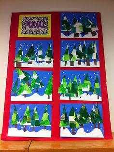 Apex Elementary Art: January 2012- Winter Trees to show light & dark colors