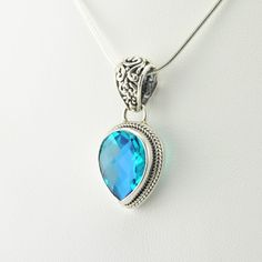 [5571] sterling silver caribbean quartz pear pendant