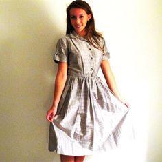50s Shirtwaist Dress Gray Dress 50s Fashion by StraylightVintage, $85.00