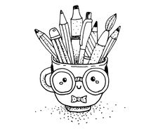 Kawaii Coloring Pages Cute Doodle Art, Doodle Art Designs, Doodle Art Drawing, Cool Art Drawings, Kawaii Drawings, Doodle Coloring, Colouring Pages, Coloring Pages For Kids, Kawaii Disney