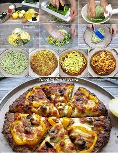 This unique low carb zucchini crust pizza has a quiche-like crust, and it is gluten-free too! Even with simple toppings (e. Points Plus Recipes, No Carb Recipes, Healthy Low Carb Recipes, Healthy Snacks For Diabetics, Pizza Recipes, Healthy Dinner Recipes, Diabetic Snacks, Meal Recipes, Healthy Food