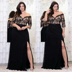 79cdc9db48 Black Lace Plus Size Prom Dresses With Half Sleeves Off The Shoulder V-Neck  Split Side Evening Gowns A-Line Chiffon Formal Dress