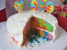 No time to bake a multi-layered rainbow cake. Try this easy alternative. Prepare cake batter as per pack instructions then separate into equal parts. Colour each part with food colouring - creating as many colours as you like.  Pour coloured batter randomly into the cake tin. DONT MIX THEM. Just let them fall randomly.  Bake the cake as per pack instructions. This cake was done using two Green's Vanilla Sponge Cake mix packets and covered with Betty Crockers Vanilla icing. EASY AS!