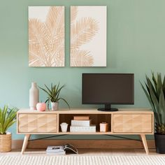 TV cabinet with 2 drawers, in solid French oak Maisons du Monde - Tv Stand Decor, Tv Decor, Home Decor, Decor Room, Bedroom Decor, Mint Green Walls, Green Rooms, Living Room Color Schemes, Living Room Designs