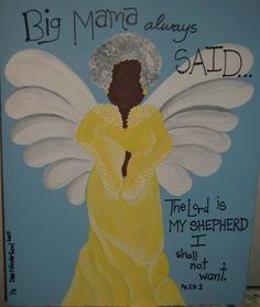 """Big Mama's Soul""  acrylic 16x20 by artist Dionne Nicole www.facebook.com/dionnenicolearts African American Art, Black Art"