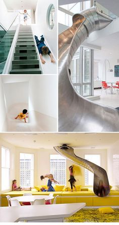 Mixture of home and playground - indoor slide breaks the wall between the playground and home Awesome Bedrooms, Cool Rooms, Room Interior, Interior Design Living Room, Indoor Slides, Dream Rooms, Dream Bedroom, My New Room, House Rooms