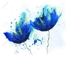 Aquarelle de bleuet fleurs bleues. humeur d'été de dessin facile. Fleurs image Banque d'images - 37438409