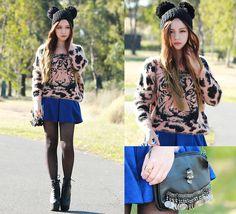 Chloe T - Sheinside Tiger Sweater, Choies Skull Bag, Romwe Beanie, Romwe Ring, Jeffrey Campbell Damsel Boots - Hey Kitty