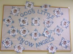 This is a great winter bulletin board with snow angels.