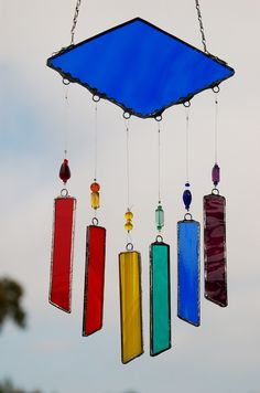 Stained Glass Wind Chimes Lapis Blue with Rainbow by DianeMarieArt, $26.00