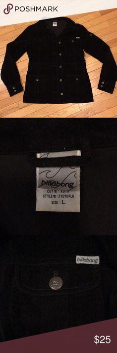 Billabong black corduroy jacket Lightweight, cotton jacket.  Size L, but fits slim.  Excellent condition.  No visible flaws Billabong Jackets & Coats Utility Jackets